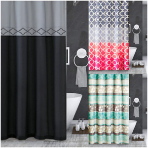1P SHOWER CURTAIN WITH COVERED RINGS HOOKS BATHROOM SET NEW DESIGNS
