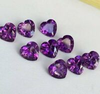 NATURAL PURPLE AMETHYST 6X6 MM HEART CUT FACETED LOOSE AAA GEMSTONE LOT