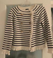 J.CREW Sweater Jacket Cardigan Womens XS Katie Striped Yellow White Knit Ruffles