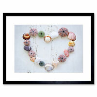 Heart Seashells Rocks Wood Beach Love Maritime Framed Wall Art Print