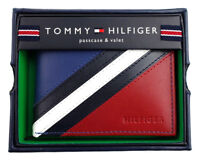 Tommy Hilfiger Men's Leather Wallet Passcase Billfold Red Navy 31TL22X051