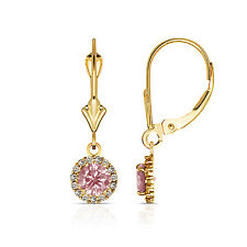 1.25CT Round Pink Sapphire Halo Drop Dangle Leverback Earrings 14K Yellow Gold