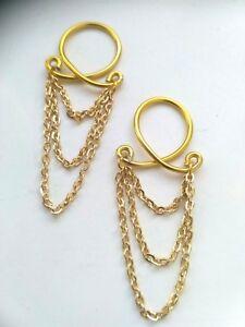 2 x Triple Chain Nipple Rings Body Jewelry Non Piercing nipple Fake Body Chain