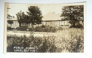 1938 Postcard REAL PHOTO LISLE Illinois Public School Building