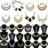 Fashion Women Alloy Metal Chunky Pendant Statement Choker Bib Necklace Jewelry