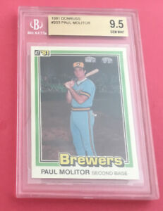 Paul Molitor ~ BGS 9.5 ~ 1981 Donruss #203 ~ 1st Donruss Card ~ Low Pop ~ HOF