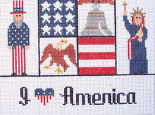 I Love America Hand Painted Needlepoint Canvas