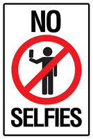Warning Sign No Selfies Self Portraits Photo Camera Phone Social Networking Whit