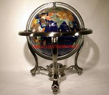 "Unique Art 13"" Tall Blue Ocean Table Top Gemstone World Globe Tripod Leg Silver"