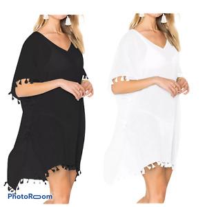 Women tasel Dress Cover Up Kaftan Sarong Summer Wear One Size Ladies white navy
