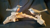Antique Folk Art Birds on Limb Sculptures Hand Carved Wood 17""