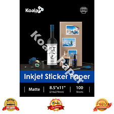 Koala 100 Sheet 8.5x11 Premium Adhesive Matte Inkjet Sticker Printer Photo Paper