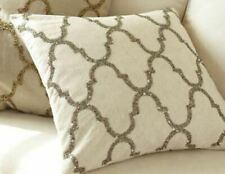 New Pottery Barn Sequin Tile Pillow Cover 18x18 Pewter Cotton Linen