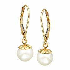 7mm Freshwater Pearl Drop Earrings in 14k Gold
