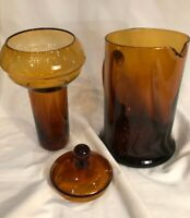 Vintage MCM Colony Amber Glass Pitcher Carafe w/ Ice Insert Made in Italy