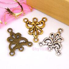 15Pcs Tibetan Silver,Gold,Bronze Flower 1-3 Charm Pendants Connectors M1125