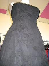 DEBUT/DEBENHAMS BLACK FLORAL SILK CUFF COCKTAIL/PROM/EVENING/CRUISE DRESS 8/10
