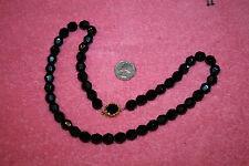 "Vintage Black Glass Bead Necklace Gold-tone Slide Clasp 24.5"""