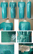 VINTAGE DOMINIQUE SILK BEAD SEQUIN EVENING COCKTAIL DRESS GOWN WEDDING BELTED S