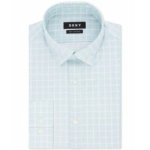 Dkny Slim-Fit Active Moisture-Wicking NonIron Dress Shirt 17.5 36 37 Green Check