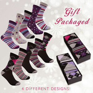 Ladies Womens Cotton Rich Spotty Dotted Striped Socks Gift Box Set Multipack 4-8