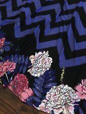 MEDIUM LuLaRoe MAXI DIPPED SKIRT blue purple chevron flowers black UNICORN! NWT