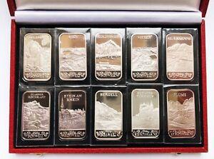 Argor Heraeus SA Switzerland 10x1 oz  Fine Silver Bar Ingot Sealed Set Box NO 2