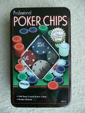Professional Poker Chips Spiel - 100 Chips Dealer Button - Neu und OVP