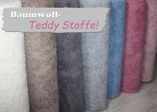 Weicher Teddy Baumwoll Stoff  grau  1m