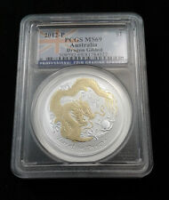 2012 P Australia Gilt 1oz Silver Dragon PCGS MS69 - Flag Label