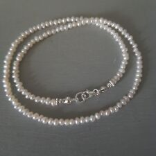 TINY FRESHWATER SEED PEARL BRIDAL NECKLACE STERLING SILVER DESIGNER GIFT FOR HER