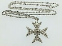 "Sterling Silver Maltese Cross Pendant Necklace Stud Floral Design 19 3/4"" Chain"