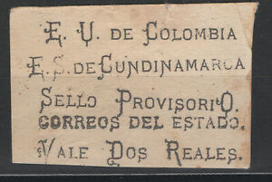 Colombia Cundinamarca 1883 Sc. 16 2p no watermark, black letters could be proof