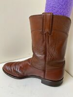 Justin Boots Roper Brown Leather Cowboy Western Boots Men's Sz 10 D- Style 3802