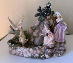 """13"""" Wide Vintage Hand Painted Classical Desktop Water Fountain Decor Waterfall"""