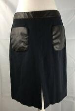 Ann Taylor Navy Skirt Black Trim Faux Leather Pencil Skirt Size 10 Front Pocket