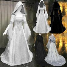 Women's Fashion Long Sleeve Hooded Medieval Dress Floor Length Cosplay Dress