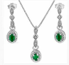 EMERALD DIAMOND NECKLACE & EARRING SET .55 CWT NATURAL EMERALDS BRIDAL SET MAY