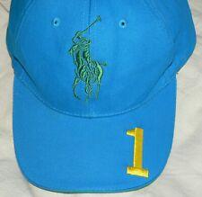 RALPH LAUREN POLO FRAGRANGES #1 Blue Cotton BIG PONY Ball Cap Hat EUC
