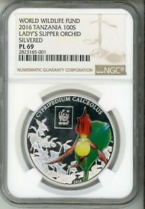 2016 100S  WWF TANZANIA - LADY SLIPPER ORCHID- COLORIZED - PLATED -  NGC PL 69