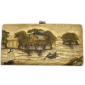 Vintage Japanese Leather Hand Painted Wallet Pagoda River Scene Hand Strap