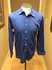 ERMENEGILDO ZEGNA L/S Button Up Shirt solid Blue  Sz med- 38/15  Recent NICE-25A