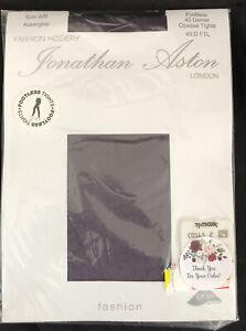 Jonathan Aston A/B 40 Denier Footless Opaque Tights Aubergine Purple London