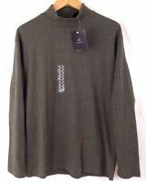 Claiborne Mens Gray 100% Cotton Mock Neck Long Sleeve Stripe Shirt SZ L New C3