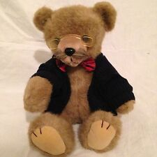 Applause World Class Dad Bear Mustache Glasses Jointed Plush Bow Tie Elbow Patch