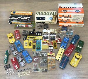 1960's SLOT CARS, 16 BODIES, ENGINES, TIRES, PARTS, BOXES, ETC- ENTIRE LOT!