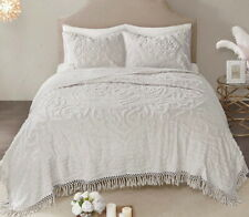 LAETITIA GREY CHENILLE 3pc King COVERLET SET : GRAY VINTAGE STYLE COTTON QUILT