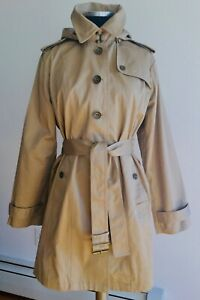 AUTH Burberry Brit Tan/ Khaki Single Breasted 100% Cotton Hooded Trench Coat  L