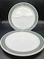 "2 Vintage Pyrex Grecian Gray Laurel Leaf 9.25"" Divided Plates Restaurant Ware"