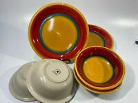 """Royal Norfolk Mambo Dinner Plates + Bowls 10.5"""" + 7.5"""" Set of 6 Dishes - USED!"""